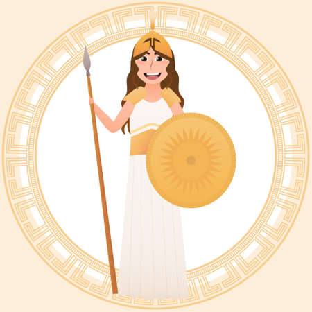 Athena Olympian greece goddess of wisdom, handicraft and warfare, little girl in acient gown for masquerade or theatre perfomance, mythical goddess in cartoon style
