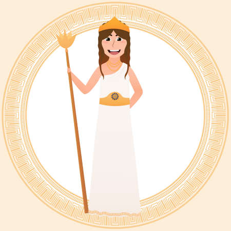 Hera Olympian pantheon goddess, ancient greece character in cartoon style, little girl in costume for masquerade, traditional gown, princess of empire