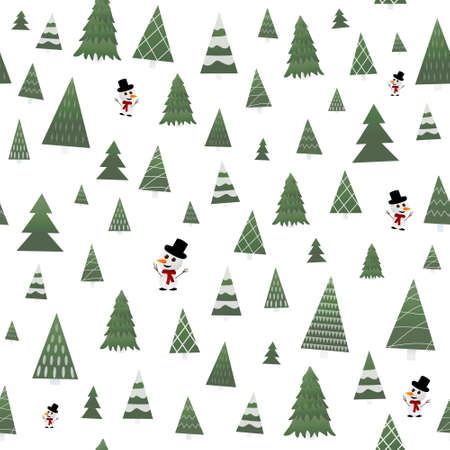 Christmas trees and snowman seamless pattern in differennt styles for wrapping paper, wallpaper or textile, winter holidays characters