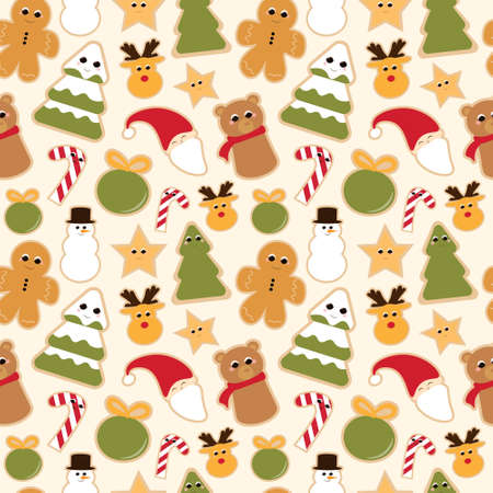 Christmas cookies seamless pattern on light yellow background for wrapping paper or textile, cute sweets, winter holidays attributes, animal characters