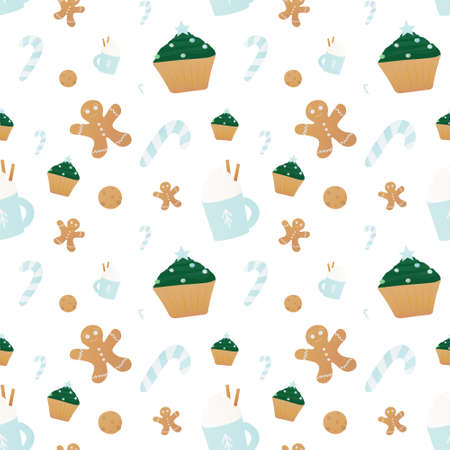 Christmas atributes - gingerman, cupcakes, christmas treee and cups, winter holidays seamless pattern with hot drinks and sweets Illusztráció