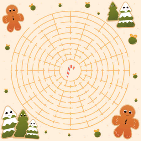 Circle christmas maze for kids,help to find way to candy, labyrinth mini game for preschooler, vector illustration for chlidren books
