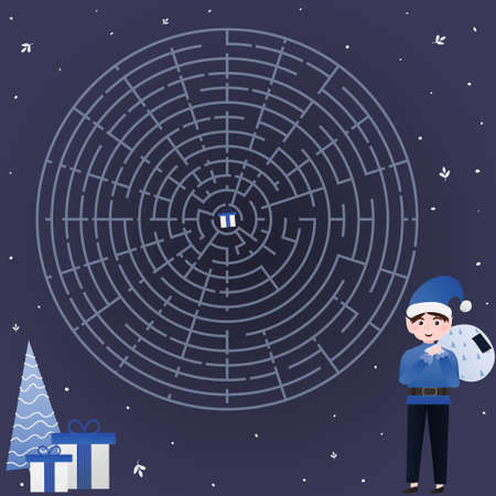 Christmas circle labirynth, helt to find way for elf to gift, children maze for books, path riddle, game for kids in cartoon style Illusztráció