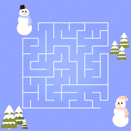 Christmas children maze, help find right way for snowman, easy game for kids or books, labyrinth puzzle in cartoon style , preschool riddle