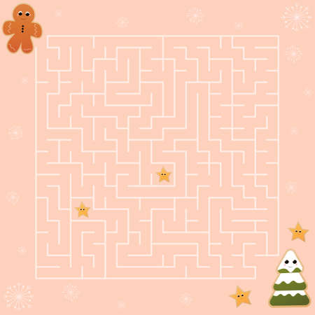Cute christmas labyrinth game for kids, maze puzzle for childrens books, helt gingerman character find right way to christmas tree in cartoon style