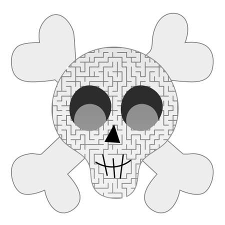 Skull maze for kids, halloween riddle for children books, logical printable activity, find solution from labirynth, preschool game