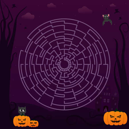 Cute circle maze for kids in halloween style for children books, spooky puzzle, help to find right path, educational activity Illusztráció