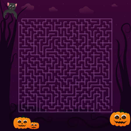 Halloween labyrinth for kid or children books in cartoon style, creepy and spooky maze, pumpkin characters and flying bat, educational puzzle