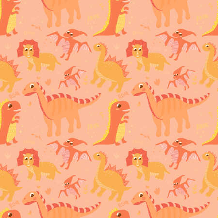 Seamless pattern with set of dinosaurs on lighr background with hand drawn elements, cute dino and lettering, print illustration for wallpaper or textile