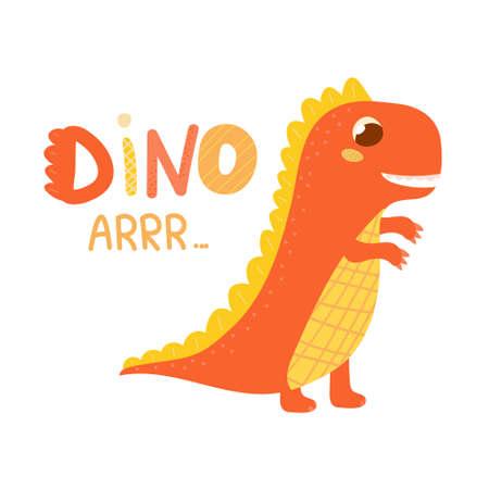 Cute dinosaur roar, colorful lettering, childish illustration for children books, dino character isolated on white background, baby scandinavian jurassic animal