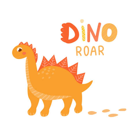 Cute baby dinosaur for children books on white background, dino baby character with scandinavian style lettering for cards or baby shower