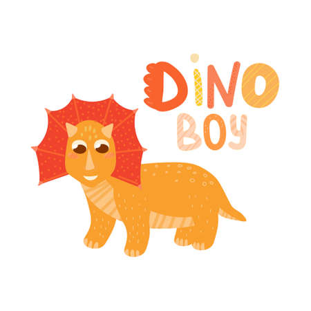 Dinosaur boy cute baby character isolated on white background, illustration for children books or party invitation for baby shower, scandinavian style Stock Illustratie