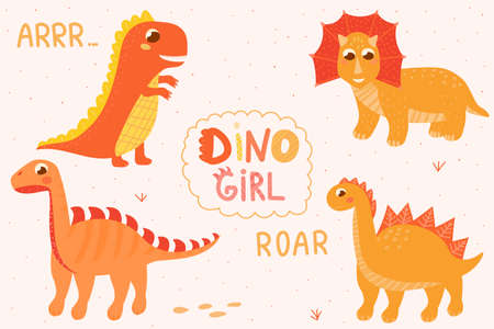 Cute girl set of dinosaur for baby shower, scandinavian style lettering, baby character for chidren books, adorable dino for textile or print Stock Illustratie