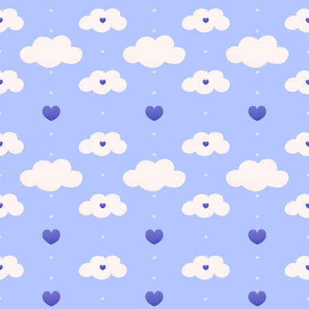 Light blue childish pattern for beeding, wrapping paper or baby shower, dotted seamless pattern with clouds, hearts, night theme in cartoon style for kids