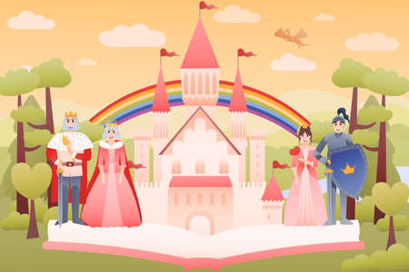 Reading fairy tales concept with open book, medieval castle, rolay family - king and queen, knight and princess, fantasy dreamlike world landscape with flying dragon
