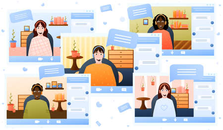 Video conference theme, teamwork via internet, e-learning horisontal illustration, remote project management, work from home, online webinar in cartoon style on white background