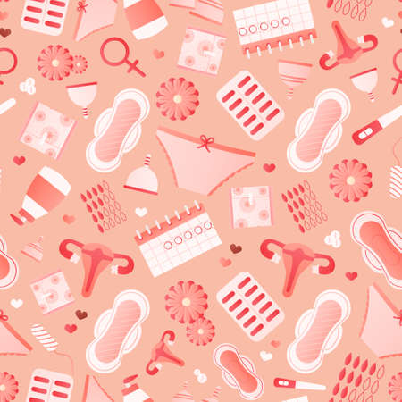 Women hygiene objects seamless pattern with pads, menstrual cups, pills, tampons, monthy cycle, gynecology concept for print, fabric or wallpapers in cartoon style on pink background