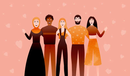 International friendship, equal rights, young diverse people embrace and waving hands, social togetherness, multinational group of persons stand side by side together on pink background with hearts