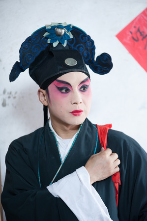 sichuan province: Chongzhou, Sichuan Province, China - April 04 2015: Portrait of a Sichuan Opera company actor.