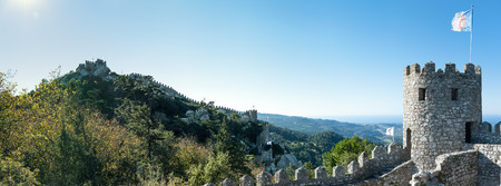 moors: Sintra, Portugal - November 24, 2013: Panorama of the medieval Castle of the Moors, a UNESCO World Heritage Site. Editorial