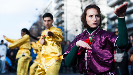 incidental people: Paris, France - February 17, 2013: Kung Fu performance at the chinew new year parade.