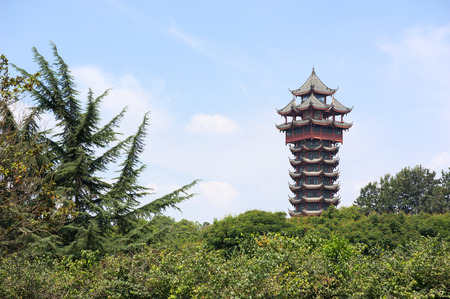 sichuan province: Jiutian tower in Tazishan Park in Chengdu is 70 meters high and has 13 layers, Chengdu, Sichuan Province, China.