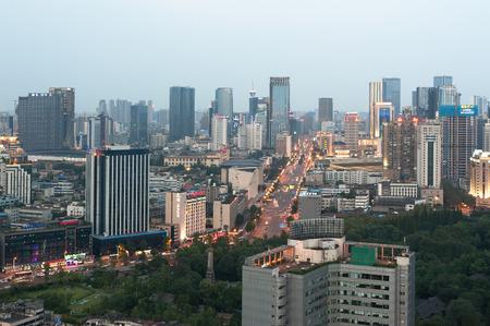 sichuan province: Chengdu, Sichuan Province, China - July 31, 2015: Chengdu skyline at dusk. Editorial