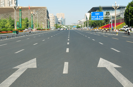 sichuan province: Chengdu, Sichuan Province, China - August 5, 2015:  Road around Tianfu Square on a sunny day.