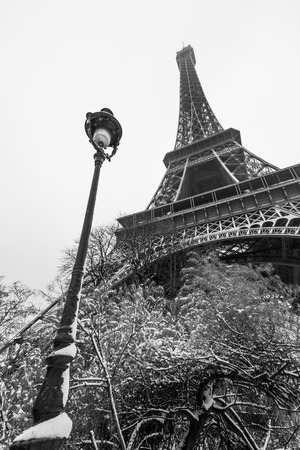 french culture: Eiffel tower and a lamppost under the snow in Paris, France