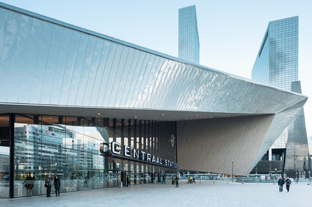 rotterdam: Rotterdam, Netherlands - March 23, 2014: Rotterdam Centraal Railway Station.