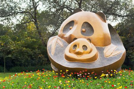 sichuan province: Chengdu, Sichuan Province, China - October 31, 2012: Panda sculpture at the Chengdu Research Base of Giant Panda Breeding.