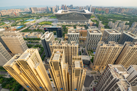 south sichuan: Chengdu, Sichuan Province, China - July 27, 2016 : Century Global Center and buildings aerial wide angle view in the South district of Chengdu.