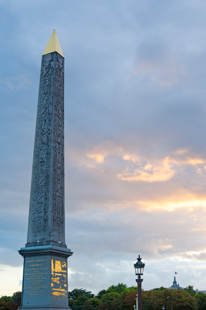 Paris - Obelisk at Concorde square against cloudy sky Editorial