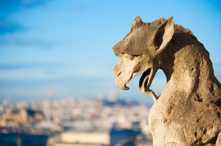 Gargouille contre le ciel bleu et la ville floue - Paris Banque d'images