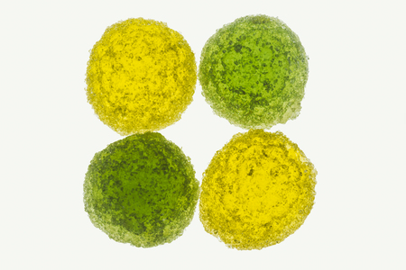 yellow and green sweet gummy candies Stock Photo