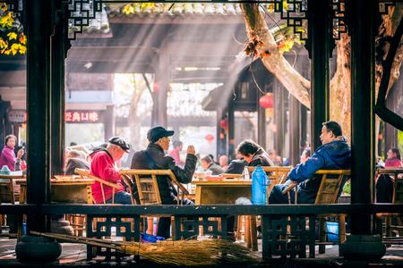 People having tea in Peoples park, Chengdu