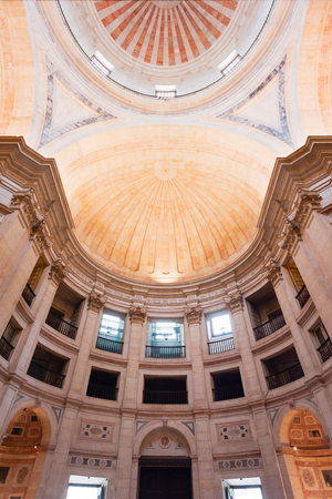 Lisbon, Portugal - Nov 23, 2013: Ceiling and dome of the national Pantheon low angle view. Editorial