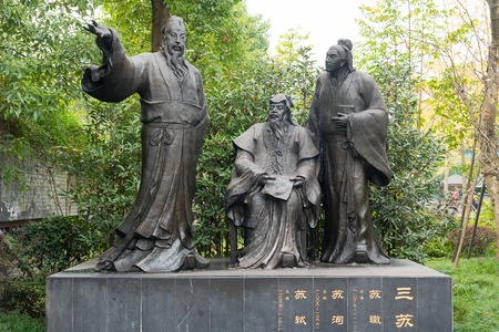 SuChe, SuXun and SuShi, chinese poets statues Editorial