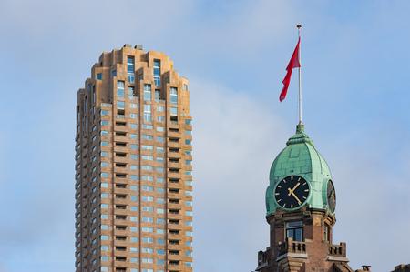 Clock tower on the New York Hotel Rotterdam Editorial