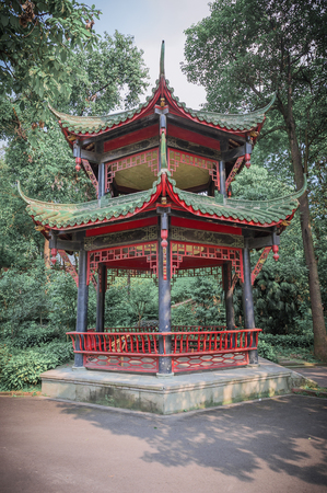 Chinese pavilion in a park, Chengdu, China