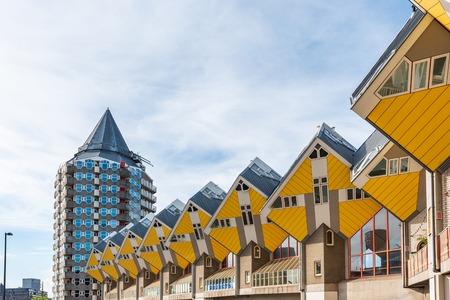 Rotterdam, Netherlands - May 2, 2019 : Yellow Cube houses - Kubuswoningen - in Blaak station area famous landmark of the city