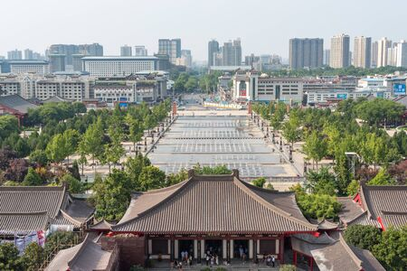 XiAn, Shaanxi province, China - Aug 9, 2018 : XiAn skyline aerial view from the Giant Wild Goose pagoda. 에디토리얼