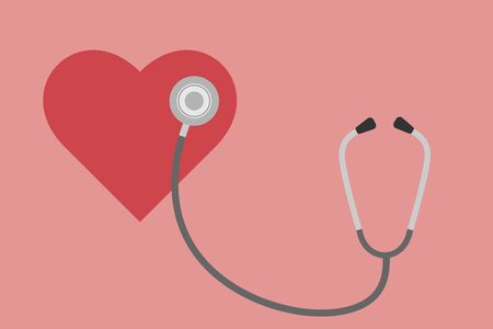 Stethoscope and heart on a pink background flat design illustration 向量圖像