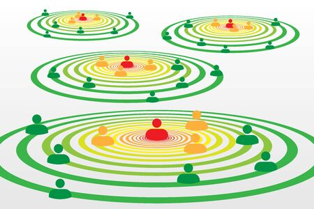 People silhouette symbols in concentric circles concept with Covid-19 contact tracing system with red, orange and green alerts - Social distancing Vecteurs