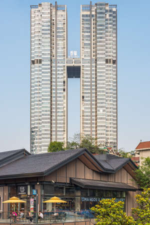 Chengdu, Sichuan province, China - May 10, 2016 : Excellency building view from Taikooli commercial area
