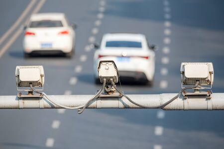 Speed cameras monitoring traffic road in Chengdu, Sichuan province, China