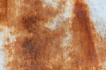 Rust texture on white surface close up view