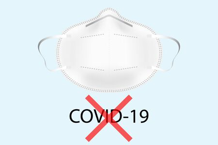 3D vector respiratory mask with covid-19 text and red cross on a light blue background Stock Photo
