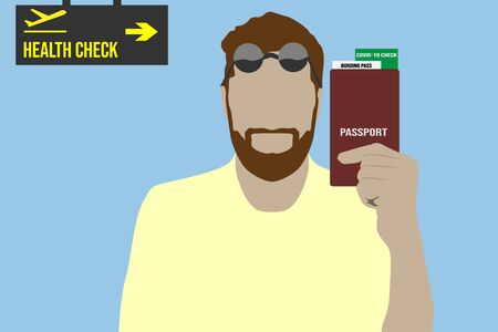 Tourist holding a passport with boarding pass and covid-19 green check certificate in an airport departure hall vector design illustration Stock Photo