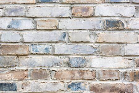 Bright old brick wall texture close-up view